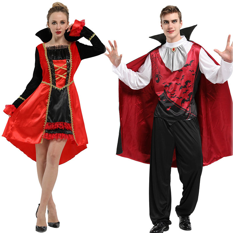 Adult Couple Halloween Cosplay Costumes Red Black Vampire Costume Horror Devil Dress Party Masquerade Performance Disfraz image