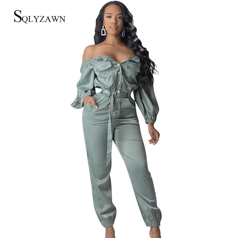 Sexy Off Shoulder Long Sleeve Bandage Belt Jumpsuit Women Fall Streetwear Casual Button Romper Fashion Club Overalls Plus Size