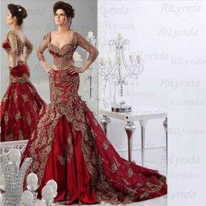 Image 1 - Kırmızı müslüman abiye 2020 uzun kollu yumuşak saten dantel İslam Dubai Kaftan suudi arabistan uzun gece elbisesi balo elbise