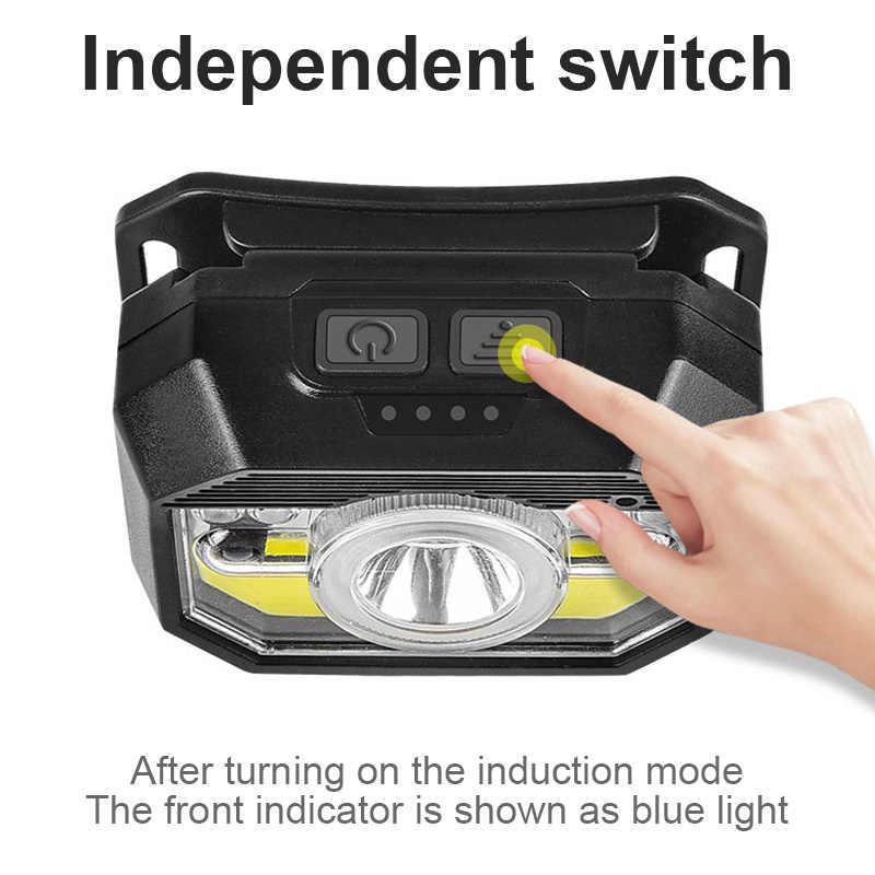 Mini LED XPE + COB Cảm Biến Chuyển Động Mạnh Đèn Pha USB Chống Nước Câu Cá Ban Đêm Trán Đầu Đèn Pin