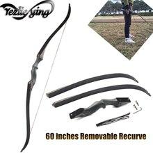 Caça arco longo 60 Polegada destacável 30 60 lbs mão direita de madeira riser recurvo arco para bestas tiro com arco para tiro