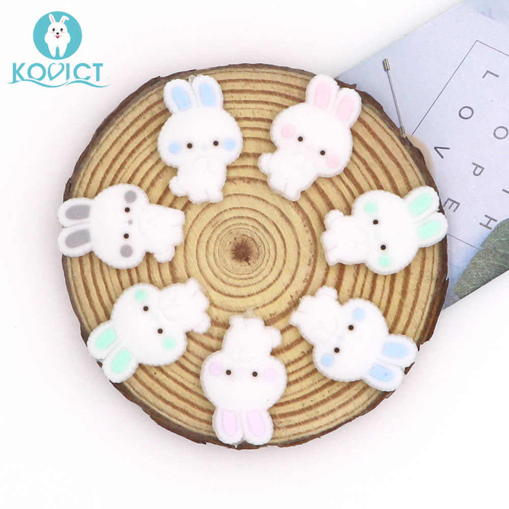 Kovict 5/10 pcs 26mm cute mini rabbit Silicone Beads Animal Baby Teether Infant Teething Bead For DIY Necklace Accessories Toy