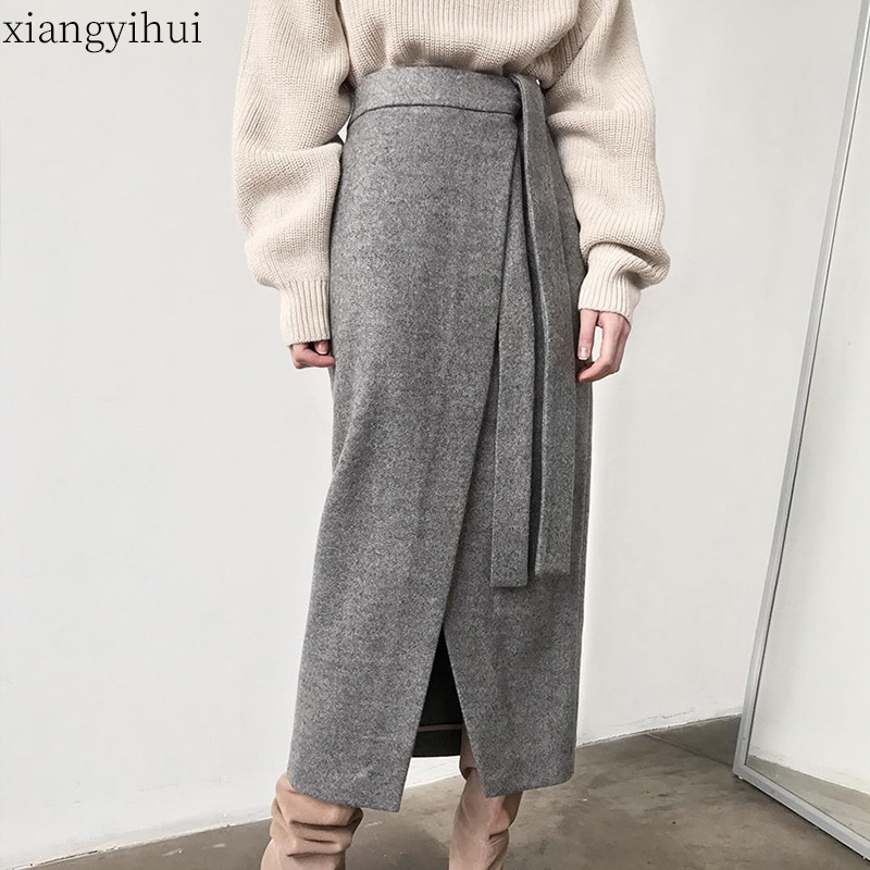 Solid Vintage Grey Khaki Suede Long Skirt Women Autumn Winter Casual Wrap Skirt Lace-up Split Hem Elegant Pencil Skirt Female image