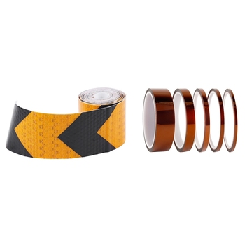 1x2 pulgadas X 10 pies 3 metros noche reflectante seguridad advertencia cinta adhesiva negro amarillo y alta temperatura cinta 5 paquete de poliimida alta