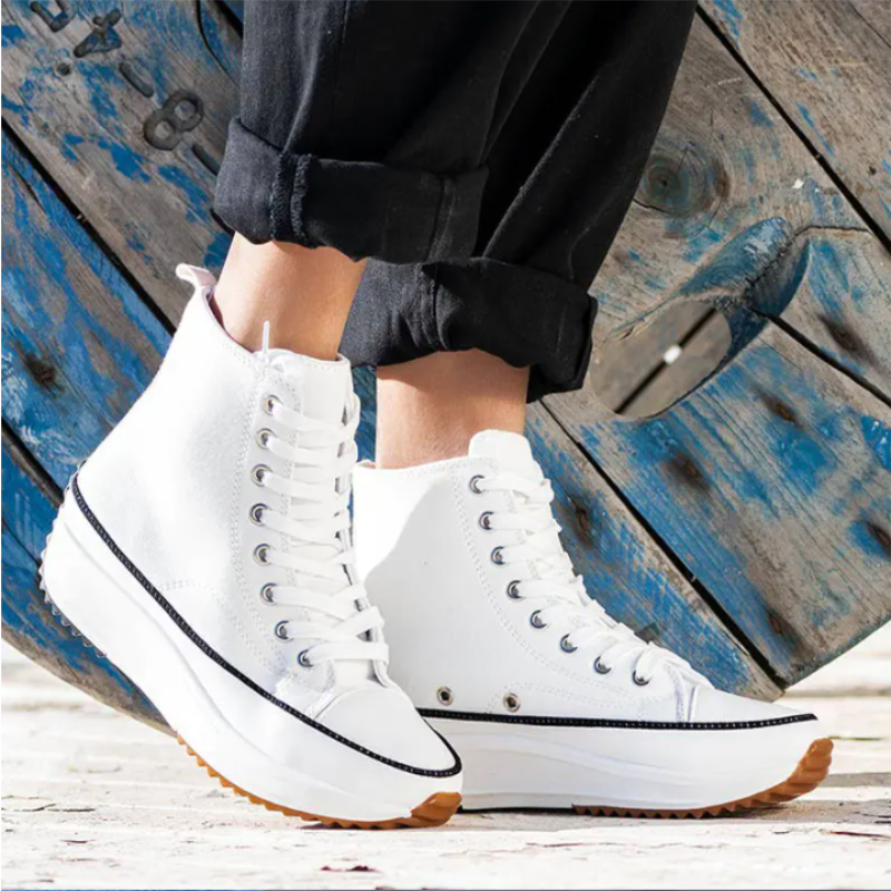2021 Women's Stylish High Tie One's Shoes Top Shoes Canvas Lace Up Platform Sneaker Trainers Breathable Anti Odor ZQ0272 Women's Vulcanize Shoes  - AliExpress