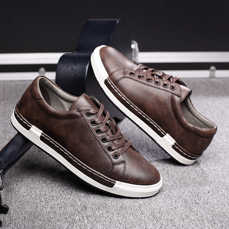 2020 Big Size High Quality Fashion Leather Men Shoes Solid Comfortable Lace Up Men Walking Flats Hot Sales Leisure Man Sneakers