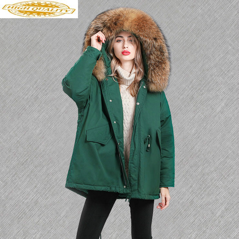 2019 New Winter Women's Down Jacket Korean Coat Woman Racoon Fur Hooded Down Jackets Loose Parka Chaquetas Mujer KJ718