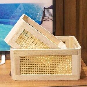 Image 2 - Wooden storage box practical handmade primary color desktop decorative clothes storage basket kitchen interior household items