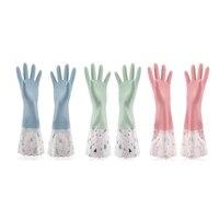 Reusable Waterproof Household Rubber Cleaning Gloves  Long Cuff  Dishwashing Gloves 3 Pairs (Medium  3 Colors)-في قفازات منزلية من المنزل والحديقة على