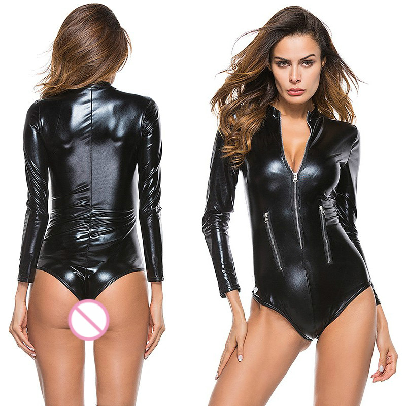 Patent Leather Female Bodysuit High Elastic Sexy Lingerie Women Front Zipper Hot Erotic Underwear Sex Spandex Catsuit Night Club