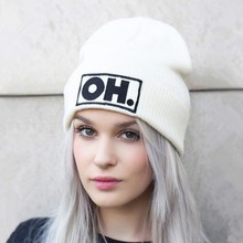 New Winter Unisex embroidery Letter OH Beanie Hats Europe America Warm Wool Casual Bonnet Hip Hop Knitted Cap