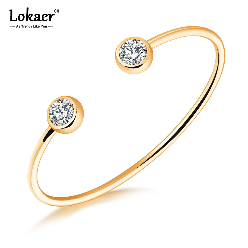 Lokaer Trendy Rose Gold/Gold/Steel Color Open Bangles For Women Girl Stainless Steel Inlaid Cubic Zirconia Cuff Bracelets B18094 1