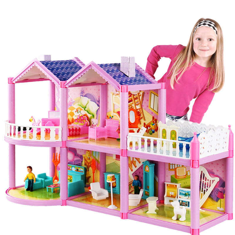 2020 New DIY Doll House For Doll Princess Doll Houses Villa Castle With Furnitures Simulation Dream Girl Toy House For Kids Gift