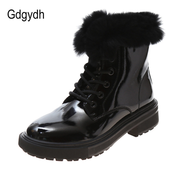 Gdgydh Real Fur Winter Boots Women Waterproof Snow Boots Platform Chunky Heel Patent Genuine Leather Ankle Boots High Quality prowow new high quality genuine leather lace up women winter boots sexy platform boots chunky heel boots botas mujer