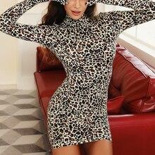 Sexy Hip skirt Leopard Print Bodycon Dress Sexy Wild Leopard Print Long Sleeve Skinny Fashion Bag Hip Skirt Skirt Hot selling print trimmed bodycon mermaid skirt