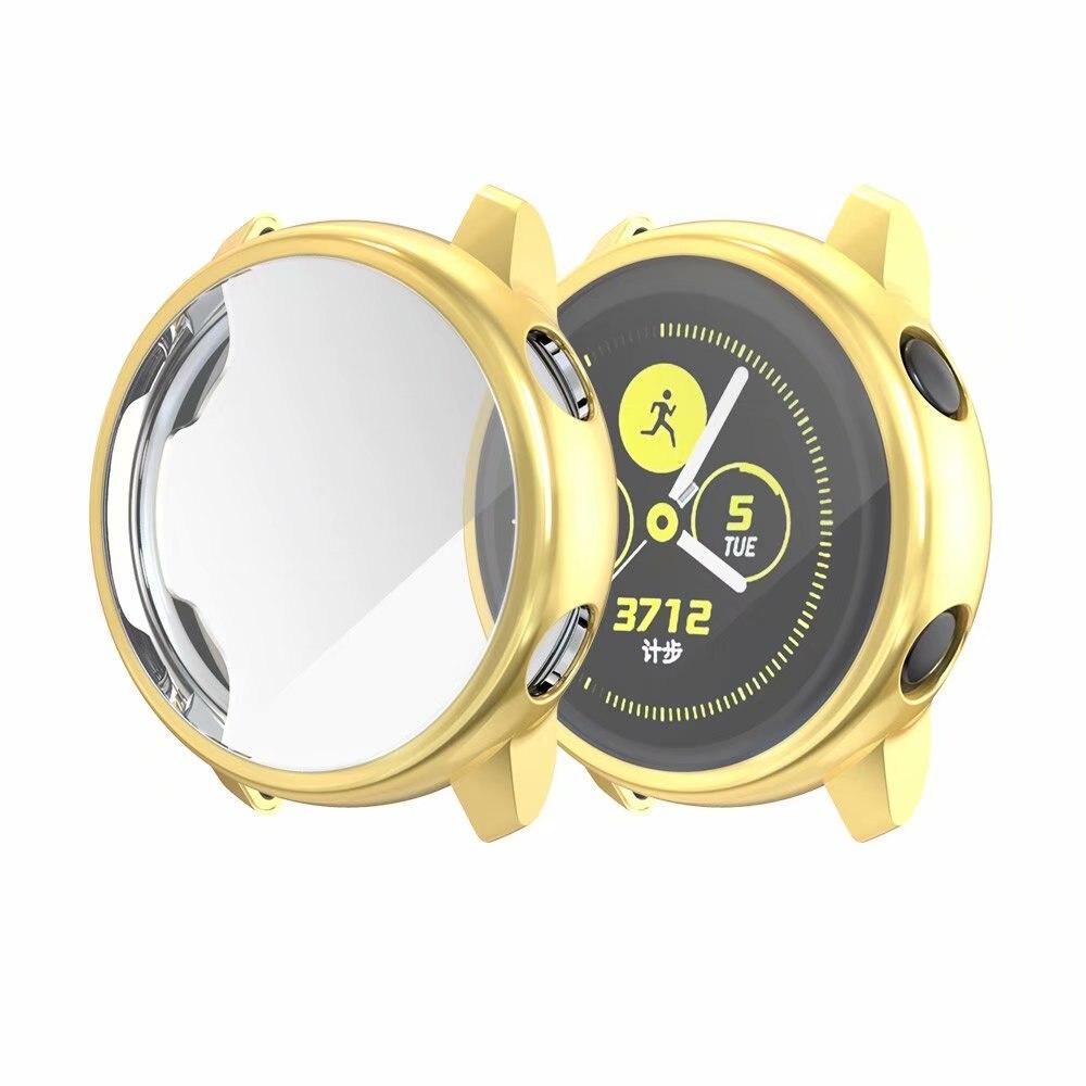 Ультратонкий Мягкий чехол для samsung Galaxy Watch Active, прозрачный защитный чехол из ТПУ для Galaxy Active, 40 мм, полностью силиконовый чехол - Цвет: Золото