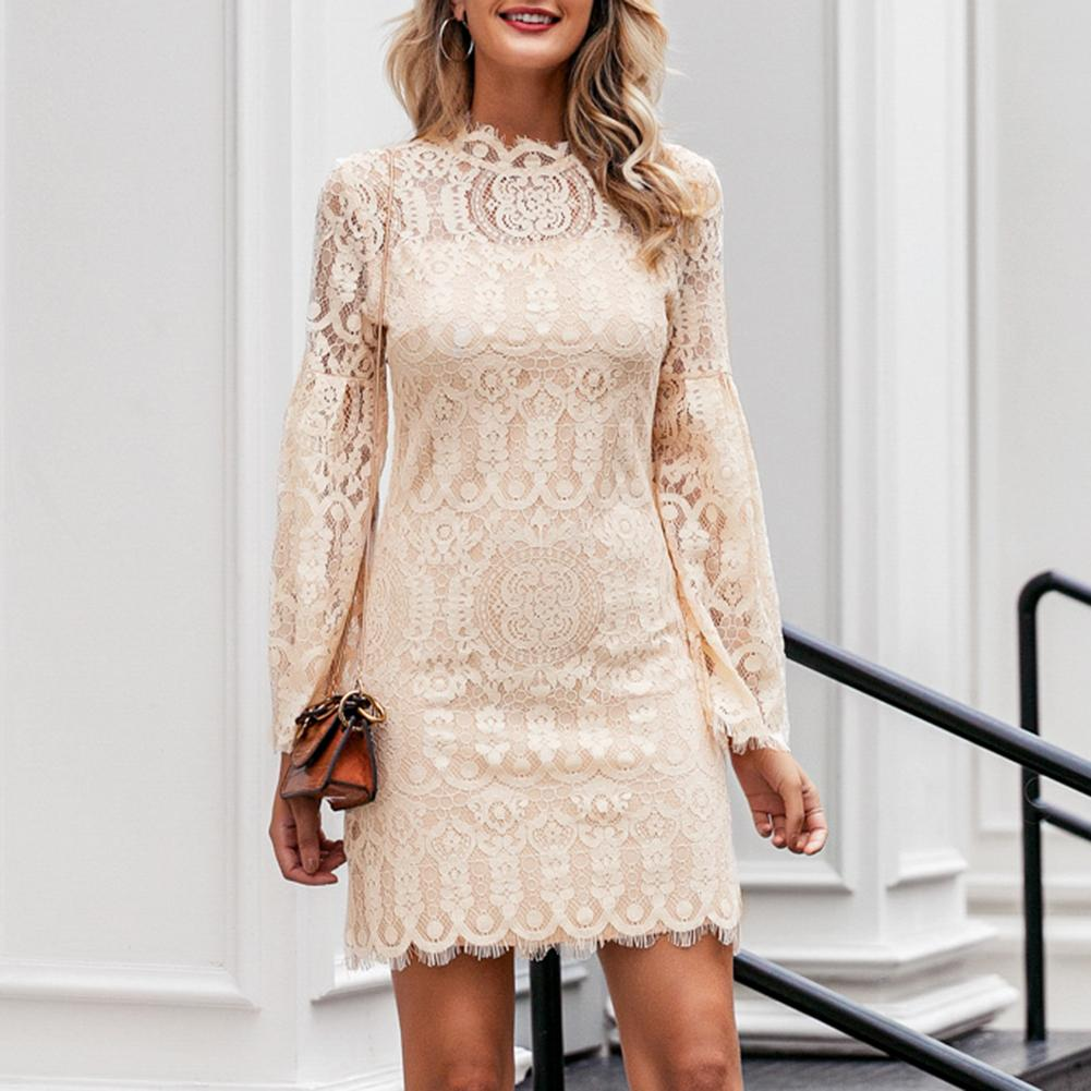 Sexy Dresses Women Spring Casual Solid Color Long Flared Sleeve O Neck Dress Lace Party Dresses For Women Cocktail Midi Dress