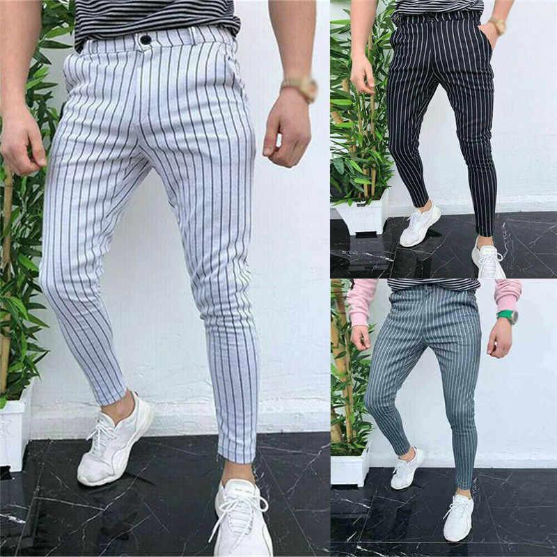 男性カジュアルスリムフィットスキニービジネス正式なスーツのズボンスラックス