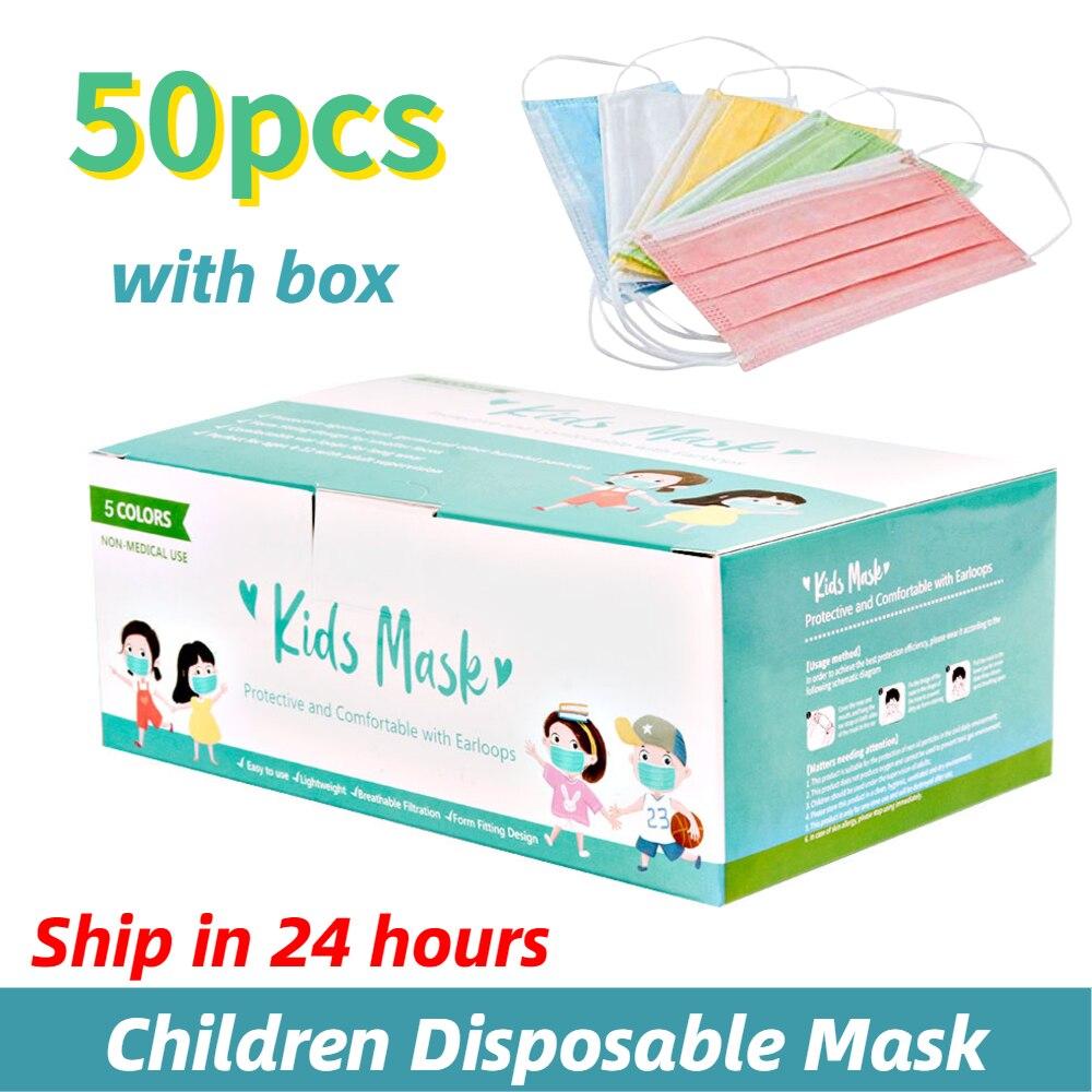 50 pces uma caixa caçoa máscara descartável para crianças menino menina máscaras coloridas máscara de 3 camadas dustproof cor mista máscara boca