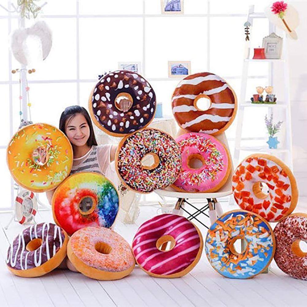 1Pcs Xmas 40cm Sofa Decorative Cute Simulation Cushion Soft Plush Pillow Without Stuffed Seat Pad Donut Foods Cushion Case Toys