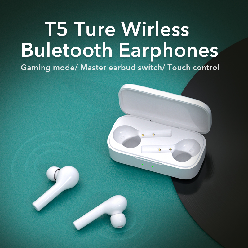 QCY T5 Bluetooth Earphones V5.0 Wireless Headphones Touch Control Stereo HD talking with 380mAh battery charging box 1
