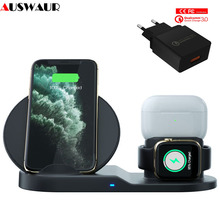 3 In 1 Fast Wireless Charger for Apple Watch iWatch 1 2 3 4 5 Airpods pro QI Wireless Charger Dock for iPhone 11 Pro  XR XS MAX