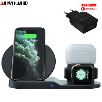 Szybka bezprzewodowa ładowarka 3 w 1 do Apple Watch iWatch 1 2 3 4 5 bezprzewodowa ładowarka Airpods pro QI do iPhone 11 Pro XR XS MAX tanie i dobre opinie auswaur Brak Ładowarka i zasilanie ROHS Qualcomm szybkie ładowanie 3 0 100-240 V A