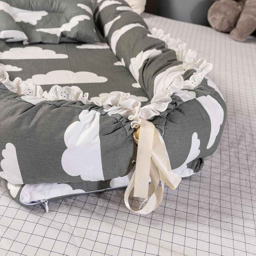 90x55cmNewborn תינוק קן מיטה נייד תחרה עריסה נסיעות מיטת תינוק פעוט כותנה עריסת תינוק פגוש מיטת עריסה עבור תינוק ילדים