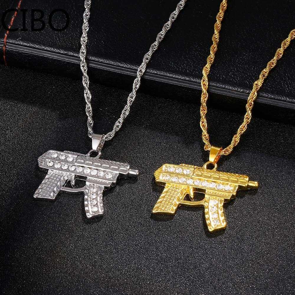 2019 جديد AK47 مسدس عوزي بندقية قلادة القلائد النساء الرجال الهيب هوب مجوهرات Steampunk حجر الراين سلسلة طويلة ذهبية قلادة