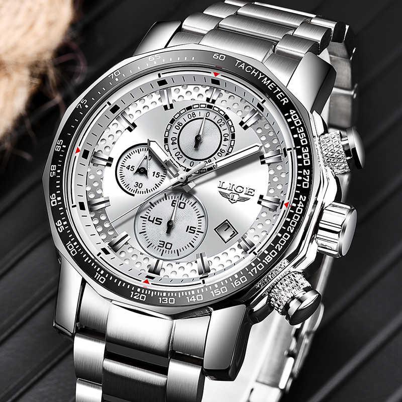2020 LIGE Silver Big Dialนาฬิกาผู้ชายกีฬาควอตซ์นาฬิกาแฟชั่นLuxury Manกันน้ำChronograph