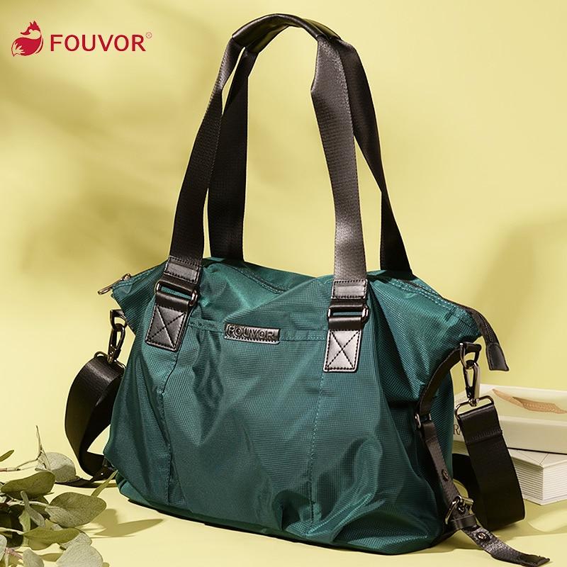 Женская оксфордская сумка Fouvor, нейлоновая вместительная Холщовая Сумка для путешествий, Корейская Повседневная сумка на плечо 2532-04