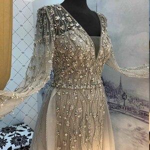 Image 5 - Yeni varış gümüş abiye zarif V boyun uzun kollu tül kristal boncuklar resmi elbise parti kadın gece elbisesi Mermaid