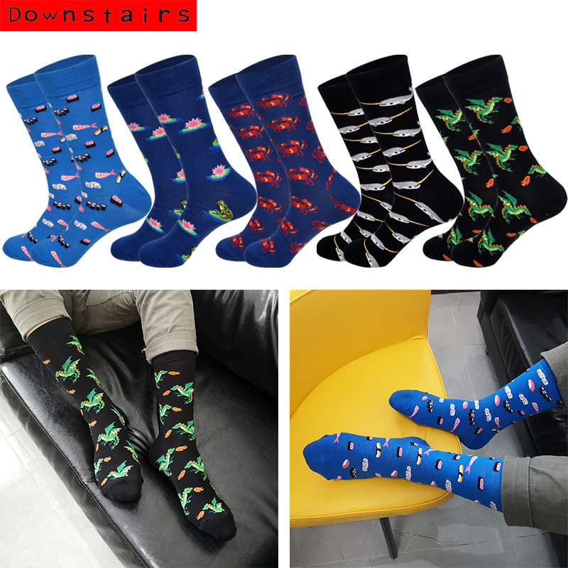 Downstairs Trend Men's Socks Whale Crab Food Flower Funny Pattern Streetwear 2019 Hot Happy Socks Kanye West Skarpety