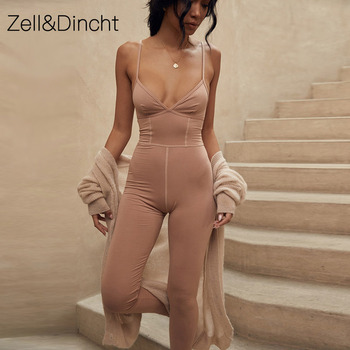 Zell&Dincht Spaghetti Strap 100% Cotton Sexy Jumpsuit Women V-Neck Sleeveless Autumn Women Rompers Backless Slim Ladies Jumpsuit фото
