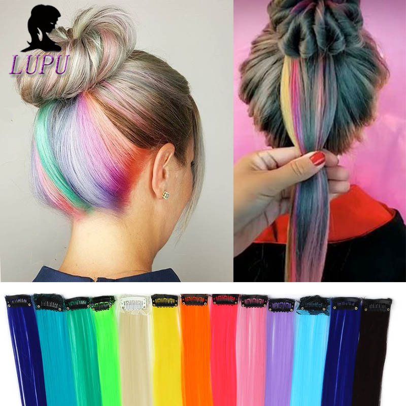 LUPU Synthetic Hair Extension One Clip In One Piece Long Straight Highlight Rainbow Colored Natural Fake Hairpieces For Girls