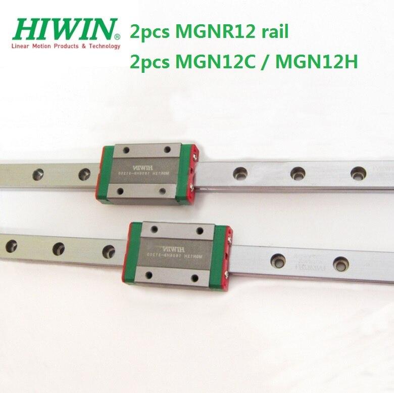 2pcs 100% Hiwin Rail MGNR12 -L 200- 550mm+ 2pcs MGN12C Or  MGN12H Blocks