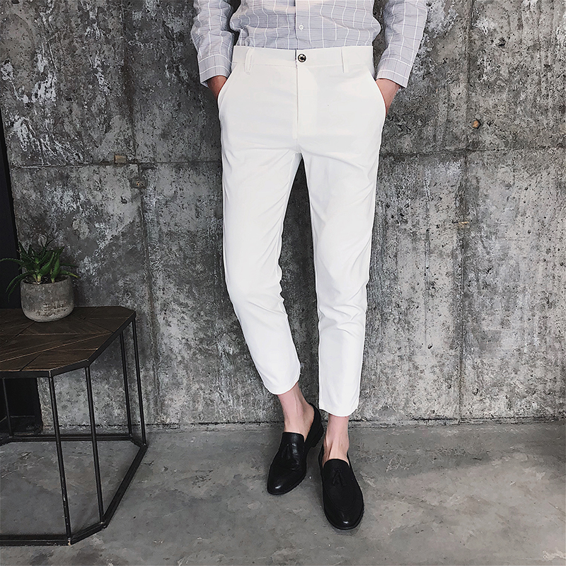 Solid Casual Pants Men Slim Fit Ankle-Length Trousers Male 2020 New Spring Summer White Khaki Black Stretch Fashion Suit Pants