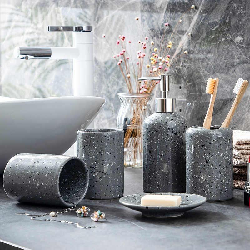 ceramique salle de bain accessoires ensemble distributeur de savon porte brosse a dents gobelet porte savon plateau cuisine vaisselle liquide
