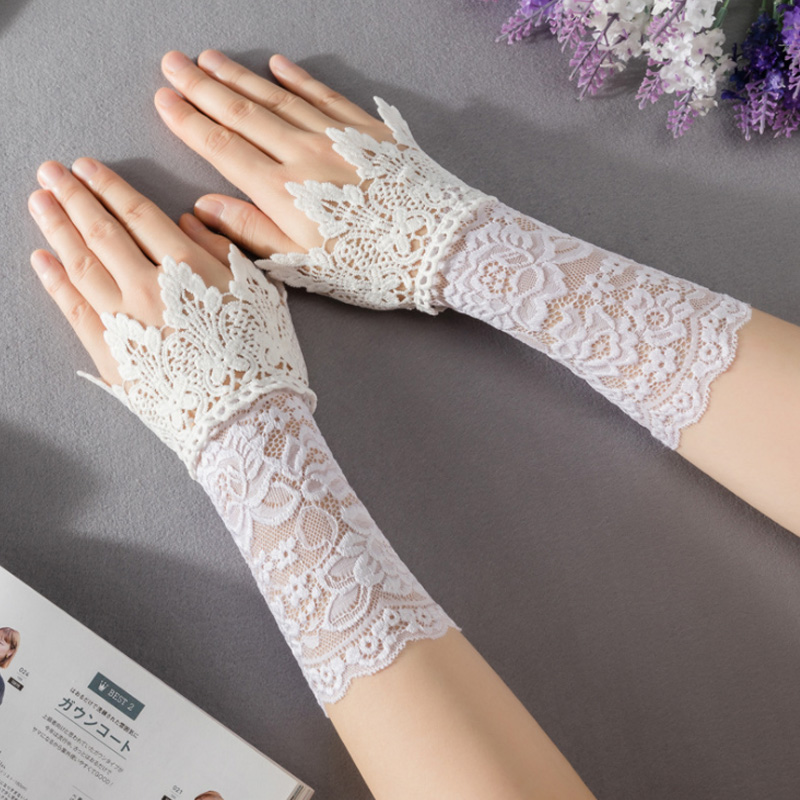 White Lace Detachable Cuffs For Women Sweater Vintage Black Nay Grey Apricot Flase Lace Wrist Cuffs DIY Decorated Sleeve Cuffs