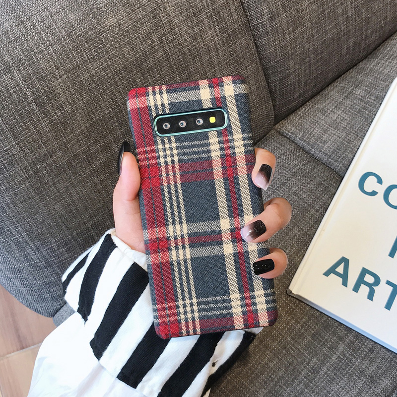 H7f42bffb8b1d4497b1f5dbe396812578y YHBBCASES Retro England Tweed Plaid Fabric Hard Cases For Samsung Note 10 Plus Note 8 9 Grid Cloth Texture Phone Cover For Samsung Galaxy S10 S8 S9 Plus Winter Warm Checkered Couples Phone Case