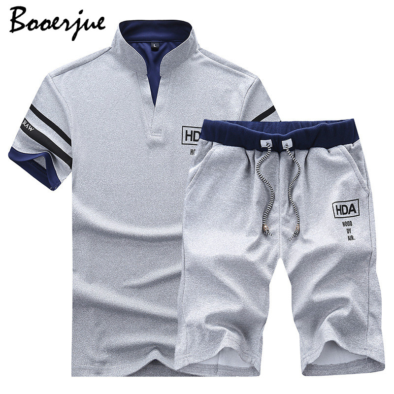 Men Sweat Suits Brand Clothing Casual Suit Men Summer Sets Tracksuits Stand Collars Streetwar Tops Tees+Shorts Fashion Mens Set