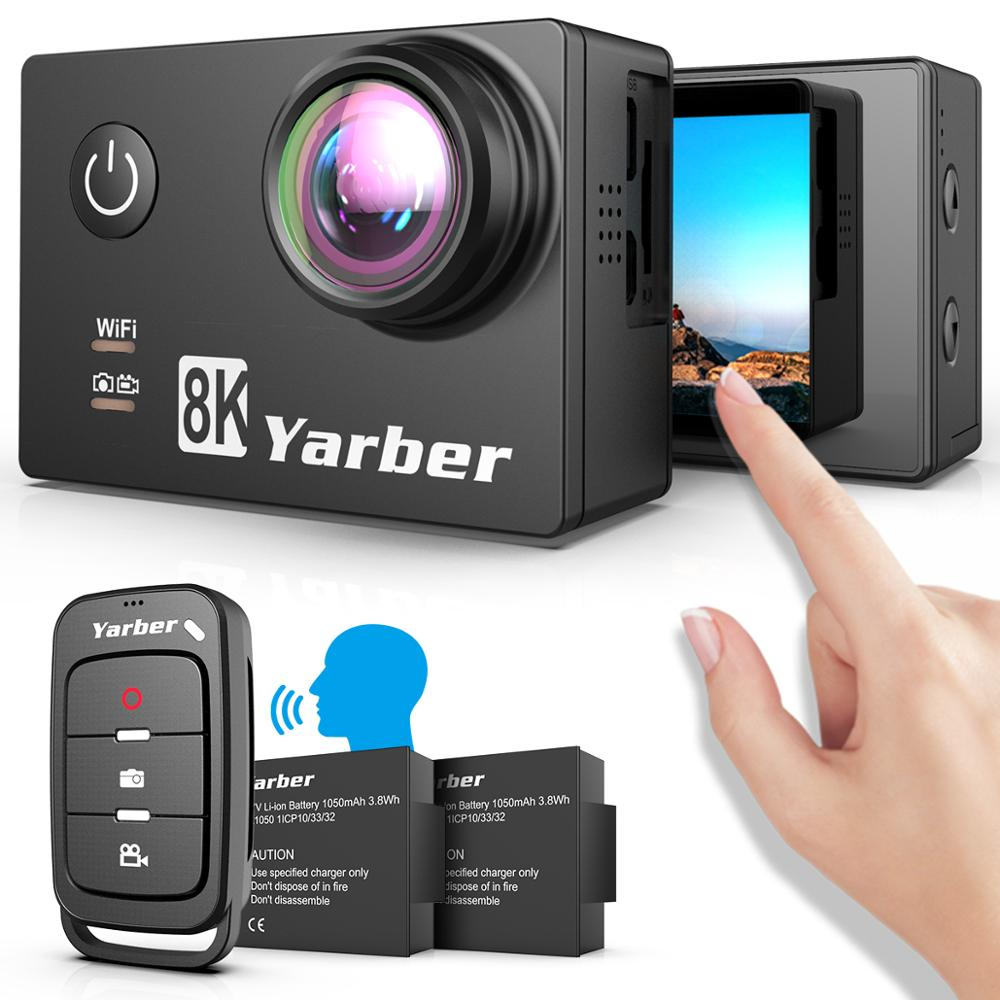 Yarber 8K WIFI Action Sports Camera 20MP HD 40M Waterproof 4K Action Cam APP Bluetooth Voice Control Bicycle Helmet Video Camera