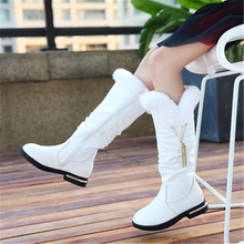 NEW 2020 Winter Girls Snow boots Genuine leather Knee-High Princess boots Warm Plush Fashion Children Cotton boots 33B