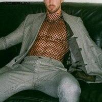 INCERUN-Camiseta de malla con cuello alto para hombre, ropa interior Sexy transparente de manga larga para fiesta y club nocturno, 2021
