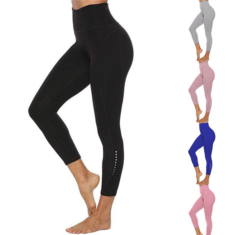 Casual Women Leggings Solid Skinny Capri Pants Fitness Workout High Waist 3/4 Leggings Cropped Pants