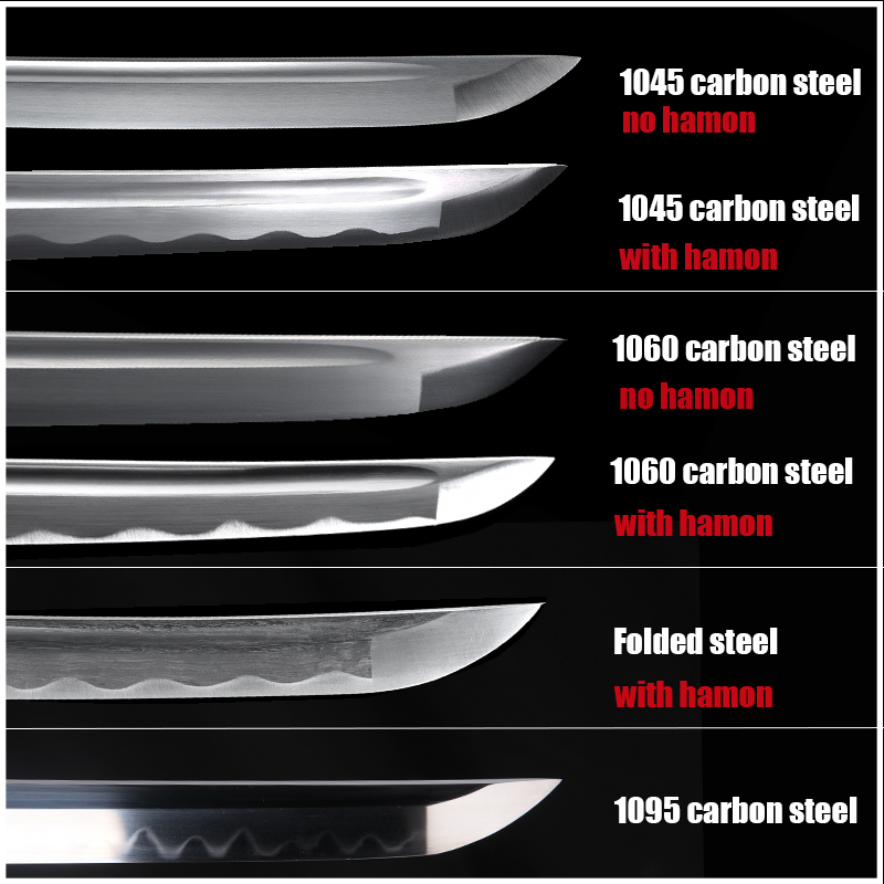Katana Sword's Blades 1045 Carbon Steel 1060 Carbon Steel Folded Steel 1095 Carbon Steel Full Tang Sharpness
