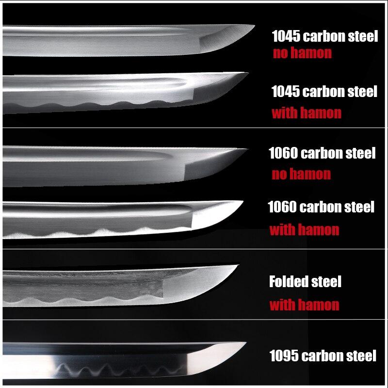 Katana Sword's Blades 1045 Carbon Steel 1060 Carbon Steel Folded Steel 1095 Carbon Steel Full Tang Sharpness