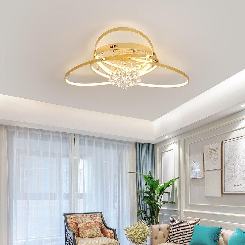 NEO Gleam Kristall moderne Led-deckenleuchten für wohnzimmer schlafzimmer studie zimmer Gold/Verchromt 90-260V Decke lampe Leuchten