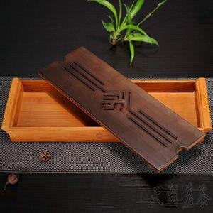 Image 3 - [GRANDNESS] オリジナル竹茶トレイ黒卓上中国 Gongfu 茶サービング竹テーブル水ドリップトレイ 39*13 センチメートル