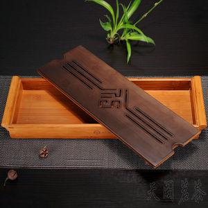 Image 3 - [גדולתו] מקורי במבוק תה מגש שחור שולחן הסיני Gongfu תה הגשת במבוק שולחן מים בטפטוף מגש 39*13cm